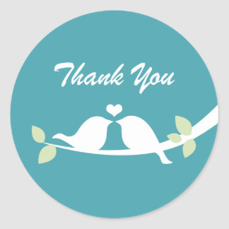 Aqua Thank You Round Sticker