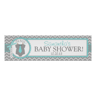 Aqua Tie Chevron Print Baby Shower Banner