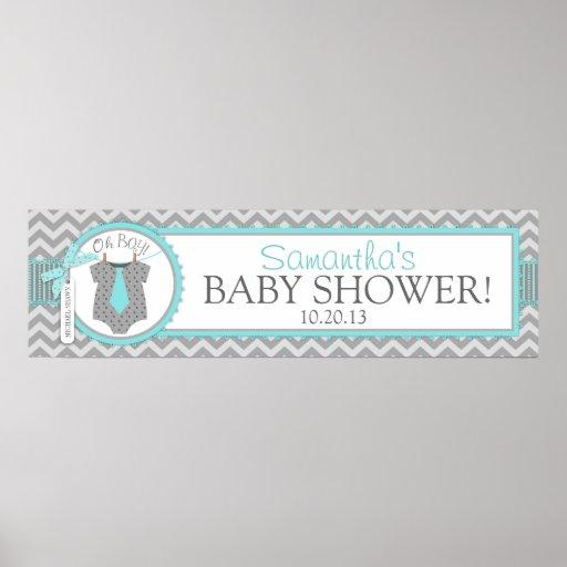 Aqua Tie & Chevron Print Baby Shower Banner