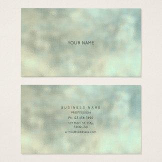 Aqua Tiffany Gray Gold Linen Minimal Texture Burla Business Card
