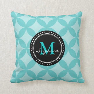 Aqua Tone Abstract Circles Pattern Throw Pillow