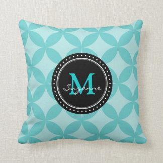 Aqua Tone Abstract Circles Pattern Throw Pillow