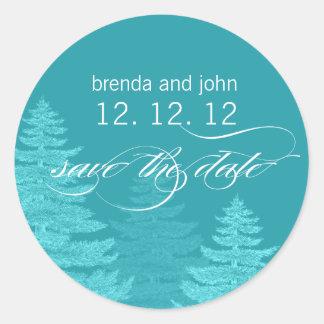 Aqua Trees Save the Date Winter Wedding Sticker
