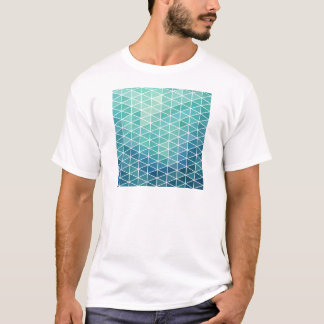 Aqua Triangle Geometric Design T-Shirt