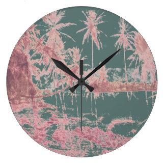 Aqua Tropical Island Wall Clock With Shells.