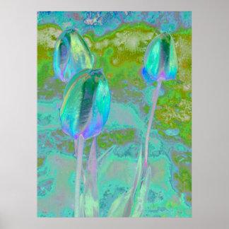 Aqua Tulip Digital Art Poster