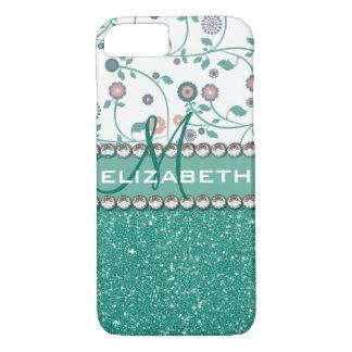Aqua Turqoise Monogram Flower Glitter Pattern iPhone 8/7 Case