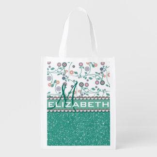 Aqua Turqoise Monogram Flower Glitter Pattern Reusable Grocery Bag