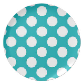 Aqua Turquoise and White Polka Dot Pattern Party Plates