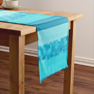 Aqua Turquoise Block Stripes Short Table Runner