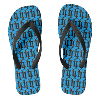 Aqua Turquoise Blue & Black Monogram Repeat Flip Flops