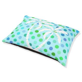 Aqua Turquoise Blue Lime Green Polkadots Pattern Pet Bed