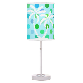 Aqua Turquoise Blue Lime Green Polkadots Pattern Table Lamp