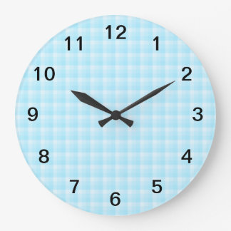 Aqua Turquoise Check Pattern. Large Clock