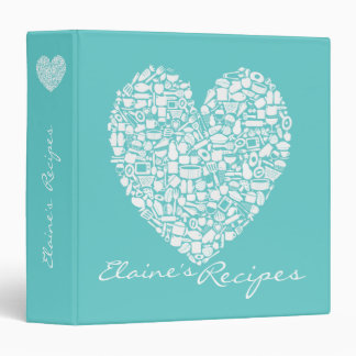 Aqua Turquoise Heart Recipe Custom Name Binder