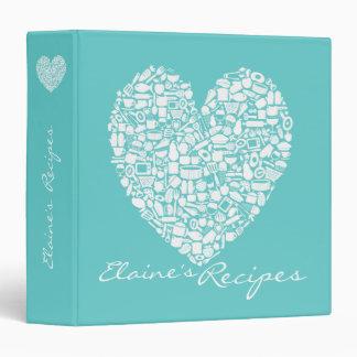 Aqua Turquoise Heart Recipe Custom Name Binder