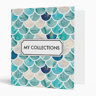 Aqua turquoise marble mermaid fish scales 3 ring binder