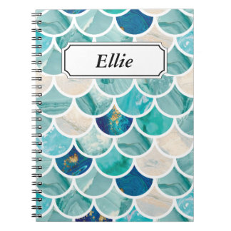 Aqua turquoise marble mermaid fish scales spiral notebook