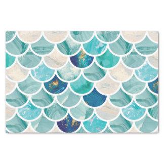 Aqua turquoise marble mermaid fish scales tissue paper