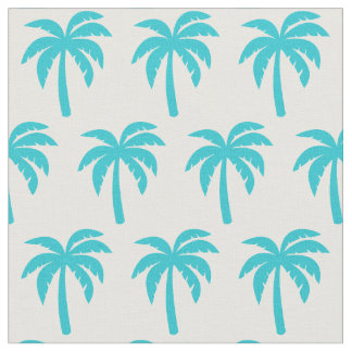 Aqua Turquoise Palm Tree Fabric