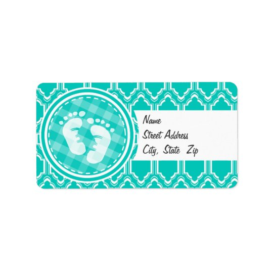 Aqua Turquoise Retro Baby Feet Baby Shower