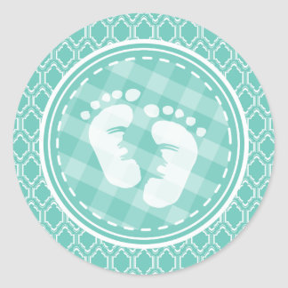 Aqua Turquoise Retro Baby Feet Baby Shower Classic Round Sticker
