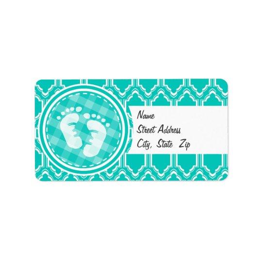 Aqua Turquoise Retro Baby Feet Baby Shower Label