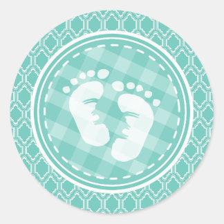 Aqua Turquoise Retro Baby Feet Baby Shower Round Sticker