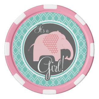 Aqua Turquoise Retro Baby Girl Elephant Shower Poker Chip Set