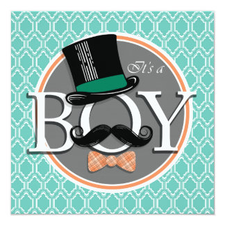 Aqua Turquoise Retro Funny Boy Baby Shower Card