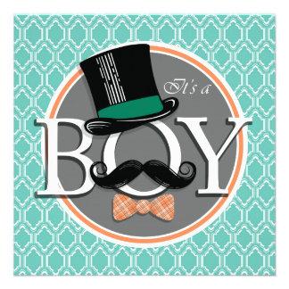 Aqua Turquoise Retro Funny Boy Baby Shower Invites