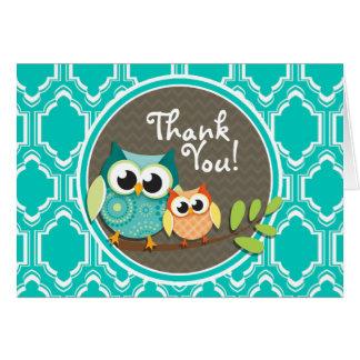 Aqua Turquoise Retro Owls Baby Shower Greeting Card