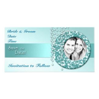Aqua Turquoise Save the Date Customized Photo Card