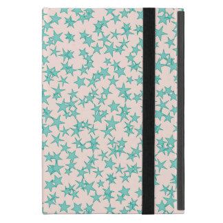 Aqua Turquoise Stars White Background Cover For iPad Mini
