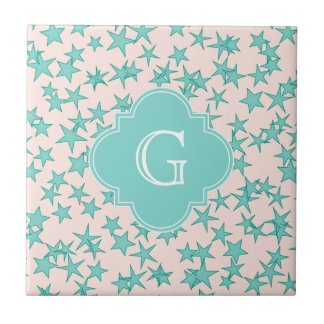Aqua Turquoise Stars White Background Monogram Tile