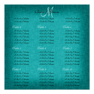 Aqua turquoise wedding seating charts print