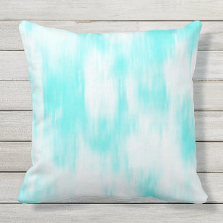 Aqua Turquoise White Abstract Throw Pillow