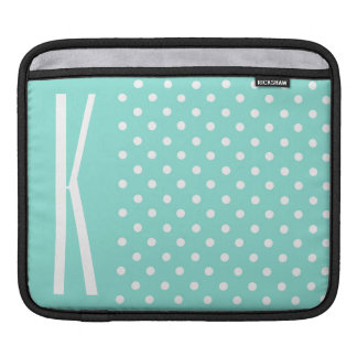 Aqua Turquoise & White Polka Dots Sleeves For iPads
