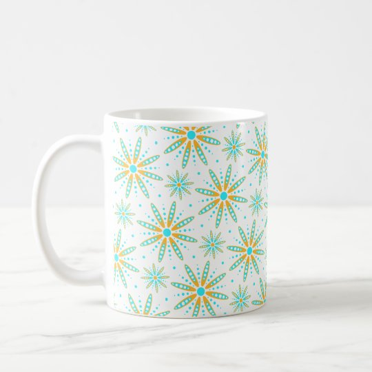 aqua turquoise wintry snowflakes patterned coffee mug