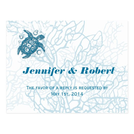Aqua Turtle Love Wedding RSVP Postcard