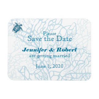 Aqua Turtle Love Wedding Save the Date Rectangular Photo Magnet
