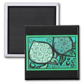 Aqua Turtles Square Magnet