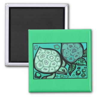 Aqua Turtles Square Magnet
