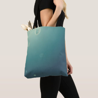 Aqua Underwater Bubble Monogram Mermaid Tote Bag