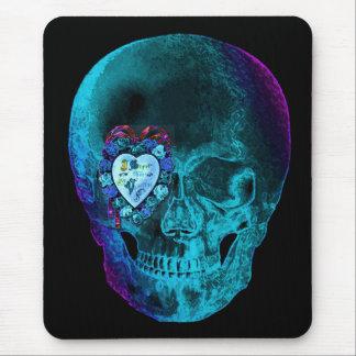 Aqua Valentine Skull Mouse Pad