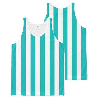 Aqua Vertical Stripes All-Over-Print Tank Top
