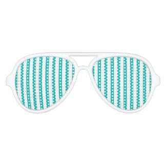 Aqua Vertical Stripes Aviator Sunglasses