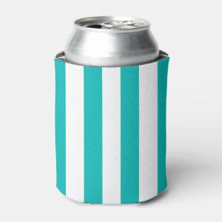 Aqua Vertical Stripes Can Cooler
