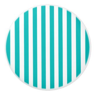 Aqua Vertical Stripes Ceramic Knob