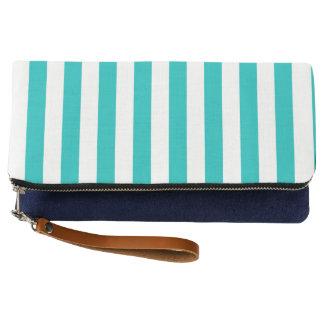 Aqua Vertical Stripes Clutch
